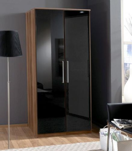 Milano Black Gloss and Walnut 2 Door Wardrobe - 2275